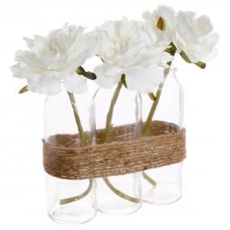 Composition 3 Roses Blanches dans 3 Tubes en verre entourés d'une corde H 23 cm