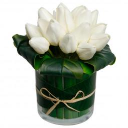 Composition florale en vase H17