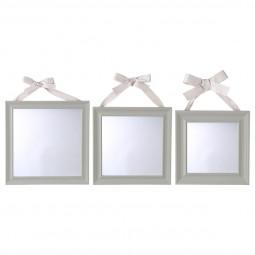 Lot de 3 miroirs carrés à ruban