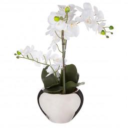 Orchidée en pot argent H57