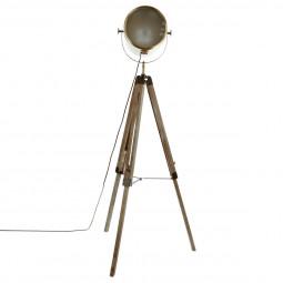 Lampadaire métal/bois Ebor Bronze H152