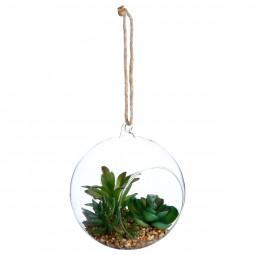 Plante artificielle + Boule en verre H17
