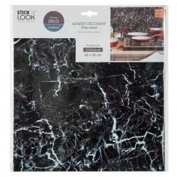 Lot de 2 stickers plaques marbres noirs