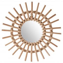 Miroir soleil en rotin D30