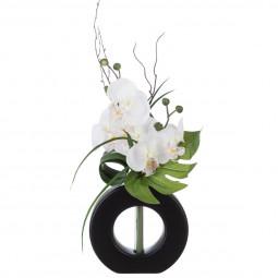 Composition orchidées + Vase noir