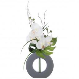 Composition orchidées + Vase gris