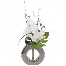 Composition orchidées + Vase argent