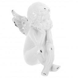 Ange assis blanc en céramique