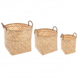Lot de 3 paniers en bambou naturel