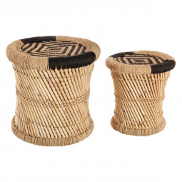 Lot de 2 tables d''appoint naturel en corde