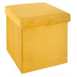 Pouf pliant velours moutarde Tess