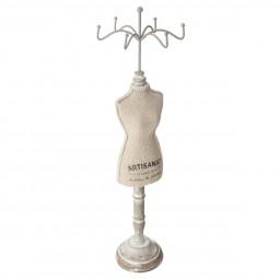 Porte bijoux forme Mannequin en Bois et Lin H 40 cm