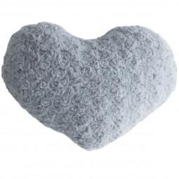 Coussin coeur boucle gris 28 x 36 cm
