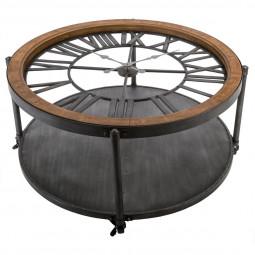 Table basse avec pendule style rétro en métal