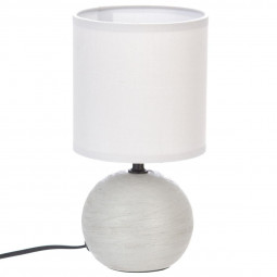 Lampe en céramique Pied Boule striée Gris clair H 25 cm