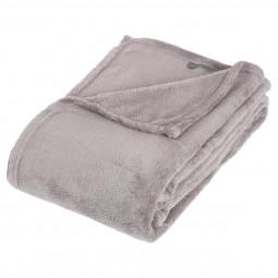 Plaid microfibre gris 130x180