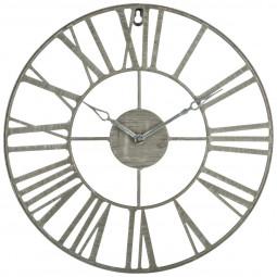 Pendule métal vintage gris D 36,5 cm