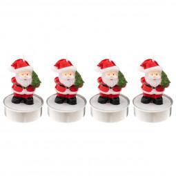 Lot de 6 Bougies chauffe plat Père Noël H 6 cm La maison des couleurs