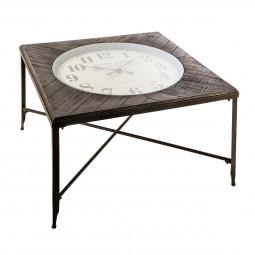 Table basse carré avec pendule style rétro en métal et bois