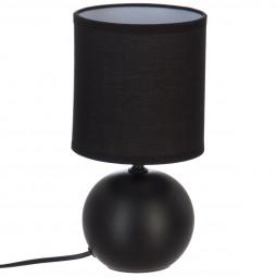 Lampe en céramique Pied Boule Noir mat H 25 cm