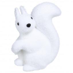 Décoration de Noël Écureuil floqué blanc H 12 cm Sous son blanc manteau