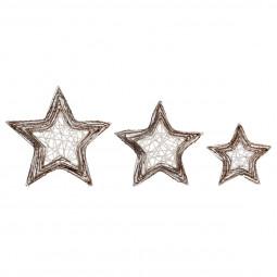 Décoration de Noël lot de 3 Étoiles pailletées en Rotin et Métal A l'orée des bois