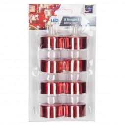 Lot 8 Bougies lumineuses à LED Rouge métallisé La maison des couleurs