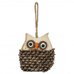 Décoration Sujet de Noël Hibou en bois et laine 8.5 cm A l'orée des bois