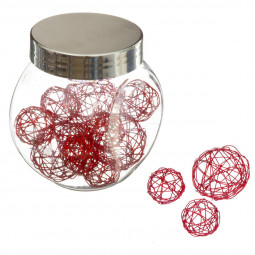 Bocal 10 accessoires de déco Noël Rouge Boules en fil de fer La maison des couleurs
