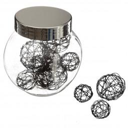 Bocal 10 accessoires de déco Noël Noir Boules en fil de fer La maison des couleurs