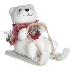 Décoration de Noël  Ours à luge H 18 cm Comptoir de Noël