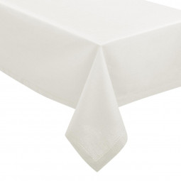 Nappe chambray, blanc, coton, dimensions 140x240 cm