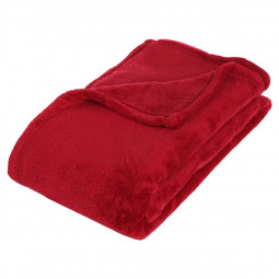 Plaid microfibre rouge 130x180