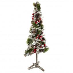 Décoration de Noël Sapin en bois avec décoration H 57 cm Un Noël kinfolk