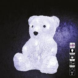 Décoration lumineuse intérieur Ours assis 16 LED Blanc froid H 20 cm