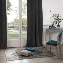 Rideau Occultant en Velours gris foncé 140 x 260 cm