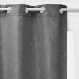 Rideau à œillets occultant tressé gris foncé 140x260