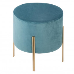 Tabouret velours bleu D 34 x H 40 cm collection Blush living
