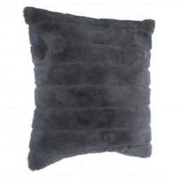Coussin fourrure gris foncé 45 x 45 cm