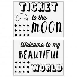 Lot de 2 stickers kids de porte lune