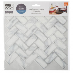 Lot de 2 stickers carrelages marbre blanc
