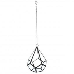 Vase métal + verre + corde H23