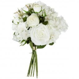 Bouquet de 18 fleurs blanches H50