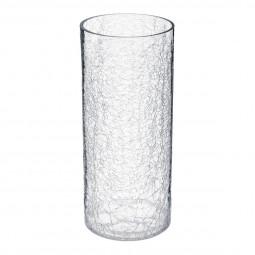 Vase cylindre verre craquelé H 30 cm