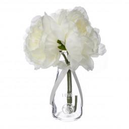 Composition 3 pivoines vase verre H25