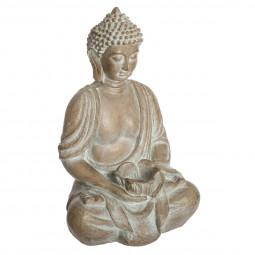 Bouddha assis effet blanchi H 39 cm été indien