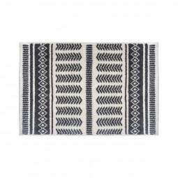 Tapis etnik fond écru et motifs gris foncé 60 x 90 cm
