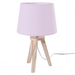 Lampe rose 3 pieds en bois 18,5x31