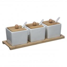 Lot de 3 pots en porcelaine + plateau en bambou