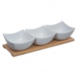 Set de 4 pièces porcelaine + bambou